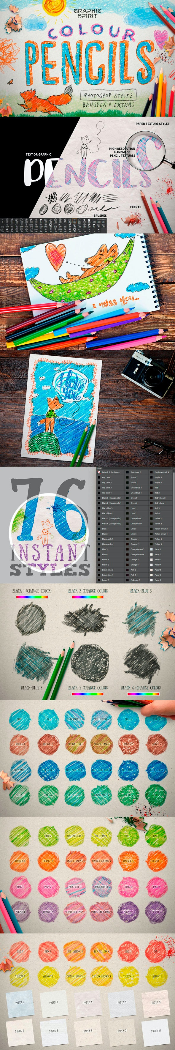 Color Pencil Box Photoshop Styles - Photoshop Add-ons