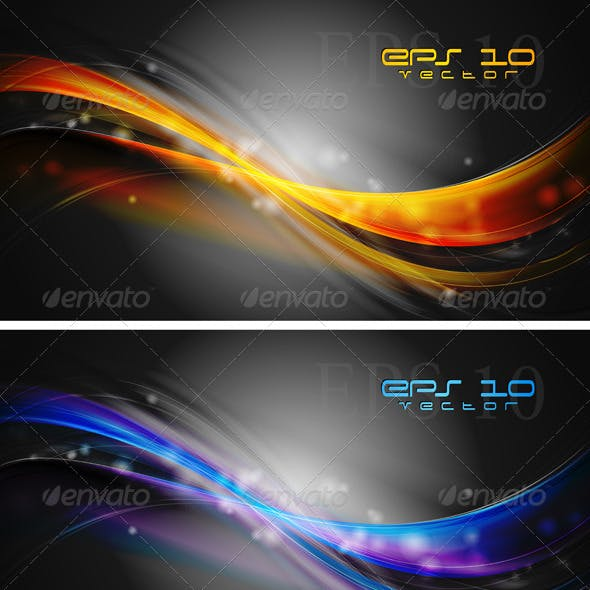 Bright waves banners. Vector design