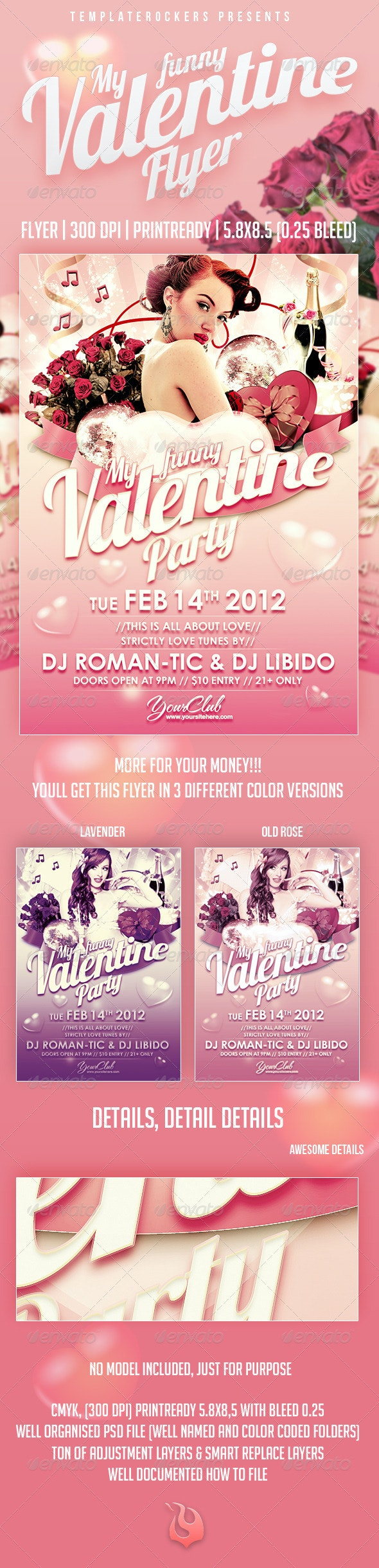 My Funny Valentine Flyer | 3 Colors Versions - Clubs & Parties Events
