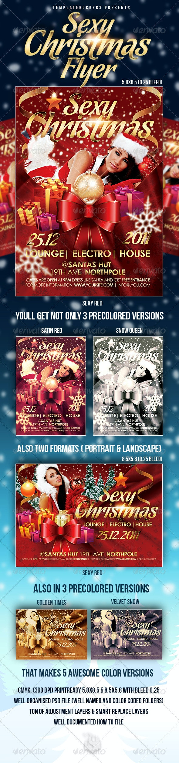 Sexy Christmas Flyer | 2 Dimensions | 5  Colors  - Clubs & Parties Events