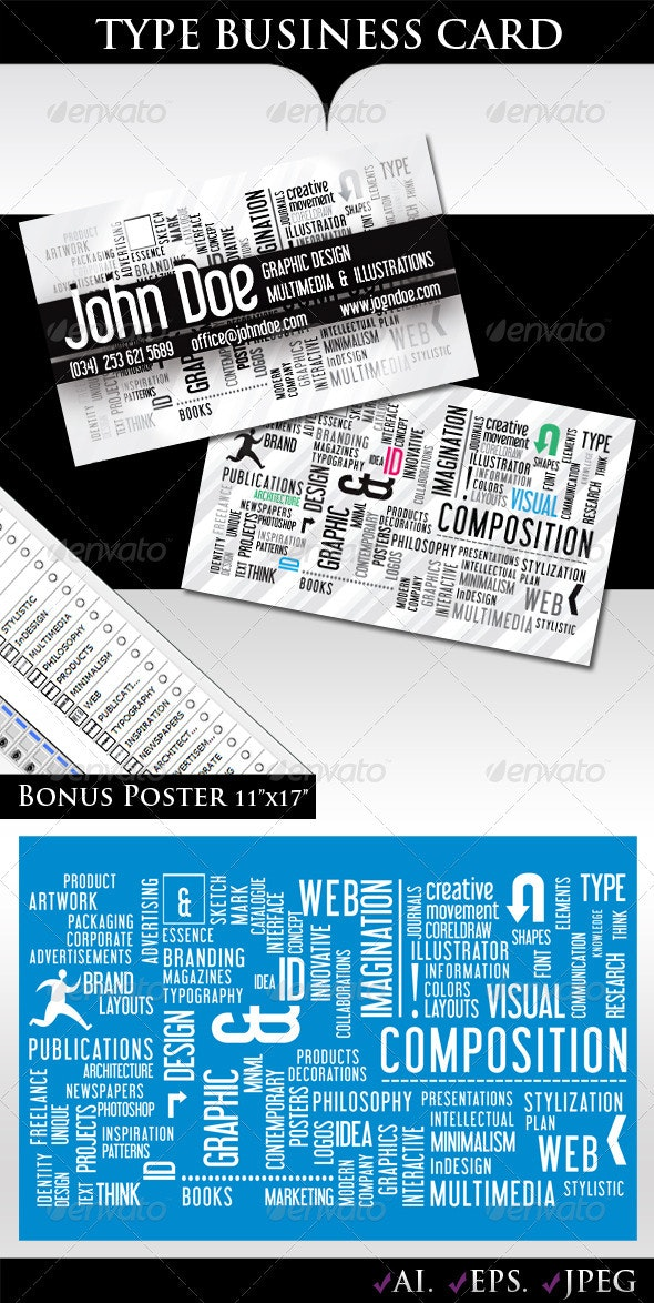 Type Business Card - Creative Business Cards