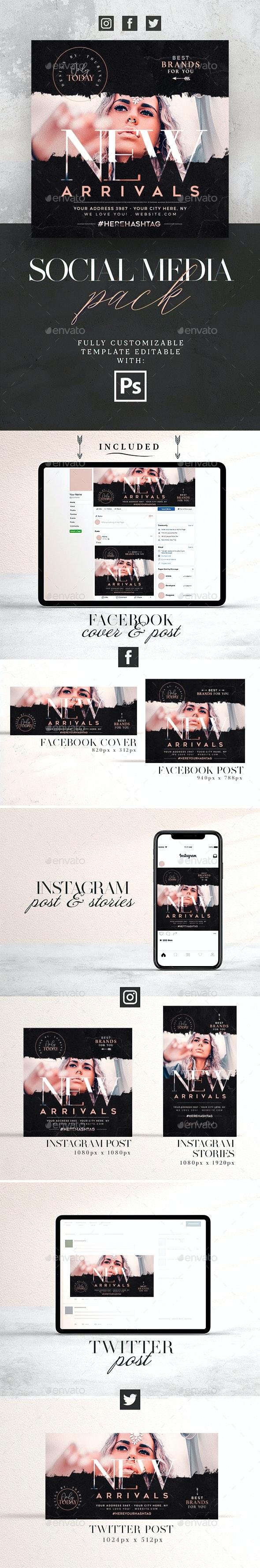 New Arrivals Social Media Pack - Social Media Web Elements