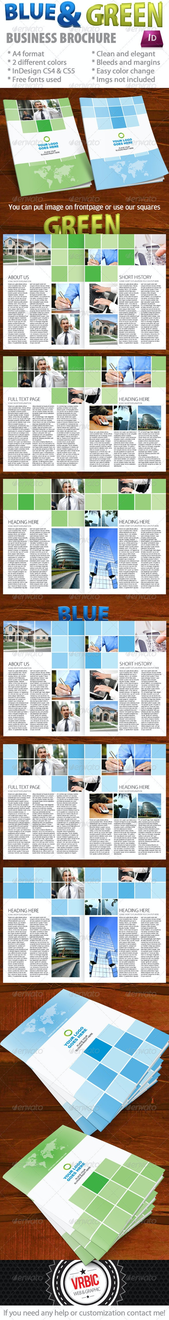 Blue And Green Business Brochure - InDesign A4 - Corporate Brochures