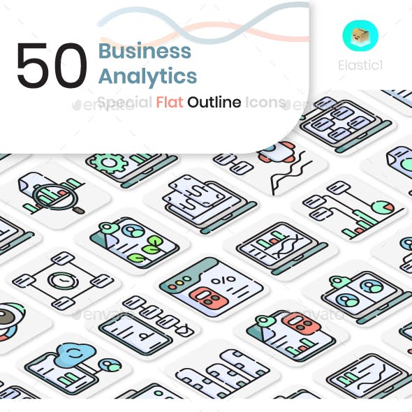 Business Analytics Flat Outline Icons