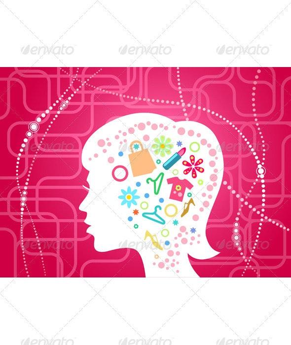 Woman head silhouette  - Backgrounds Decorative