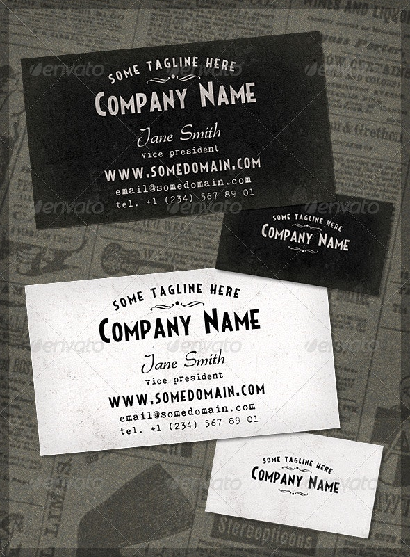 French Typography Business Card - Retro/Vintage Business Cards