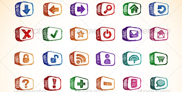 Internet and Computer Icon Set - Technology Conceptual