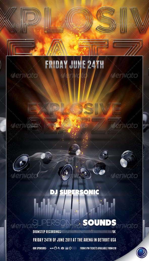 Music Speakers Explosion Flyer Template - Clubs & Parties Events