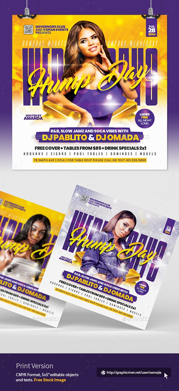 Hump Day Wednesdays Flyer - Clubs & Parties Events