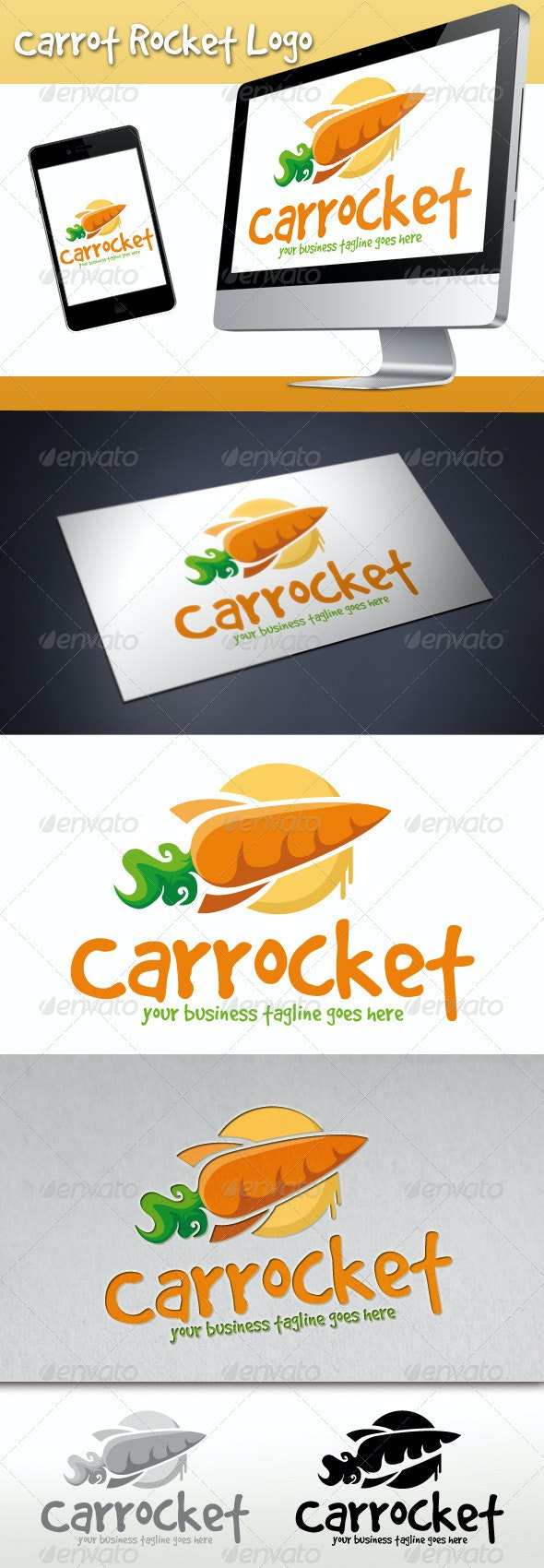 Carrot Rocket Logo (Carrocket) - Food Logo Templates