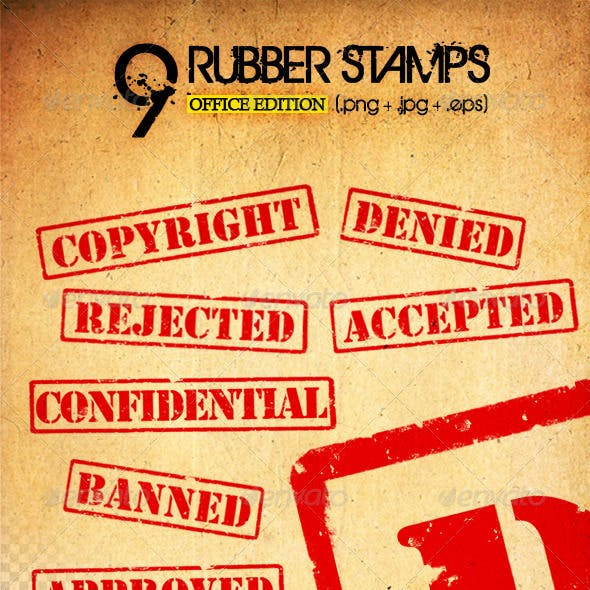 9 Rubber Stamps Office ed.