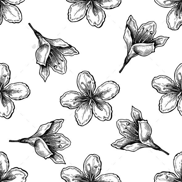 Seamless Pattern with Black and White Plum Flowers - Flowers & Plants Nature
