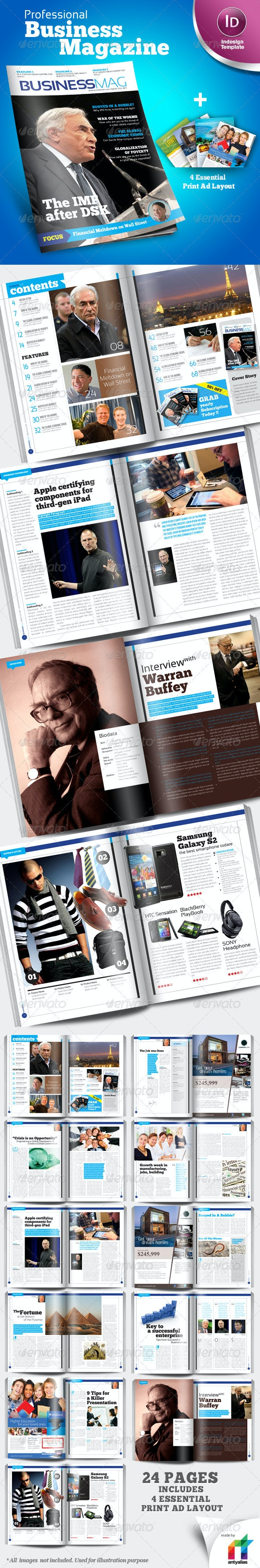 Profesional Business Magazine Indesign template - Magazines Print Templates