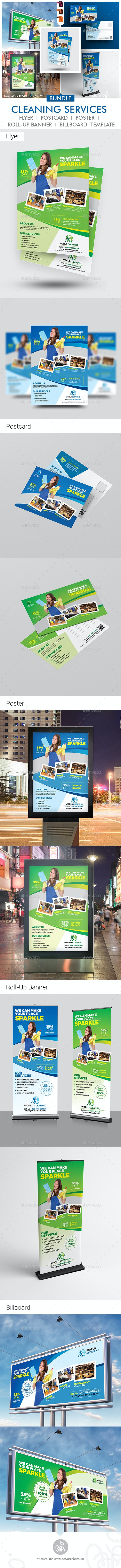Cleaning Company Promotional Print Template Bundle - Print Templates