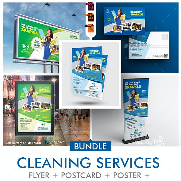 Cleaning Company Promotional Print Template Bundle