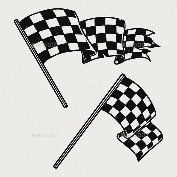 Two Racing Checkered Flags Vintage Concept