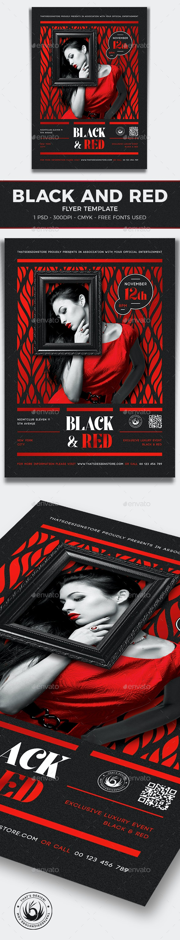 Black and Red Flyer Template V6 - Clubs & Parties Events