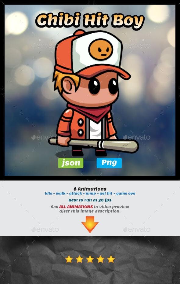 Chibi Boy with Baseball Bat Game Asset - Sprites Game Assets