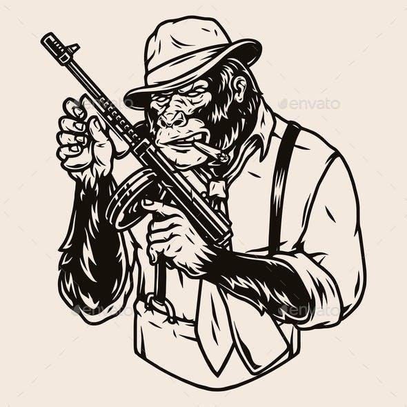 Mafia Member Gorilla in Fedora Hat