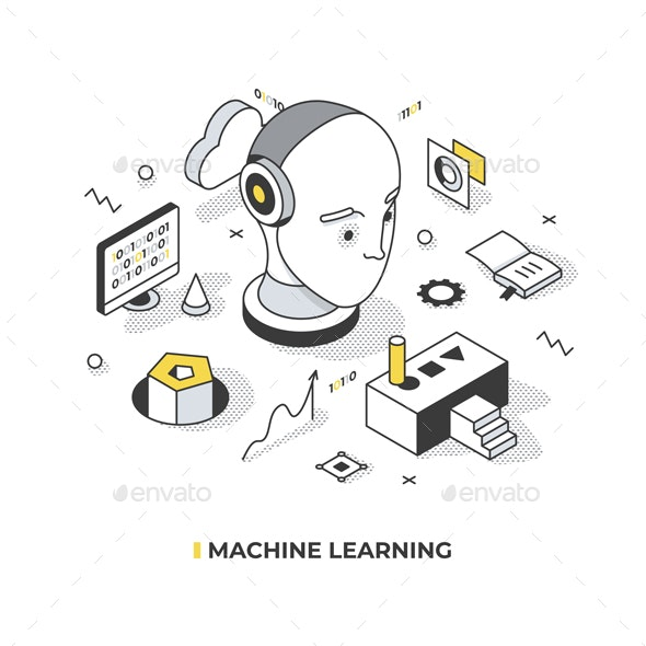Machine Learning Isometric Concept - Technology Conceptual