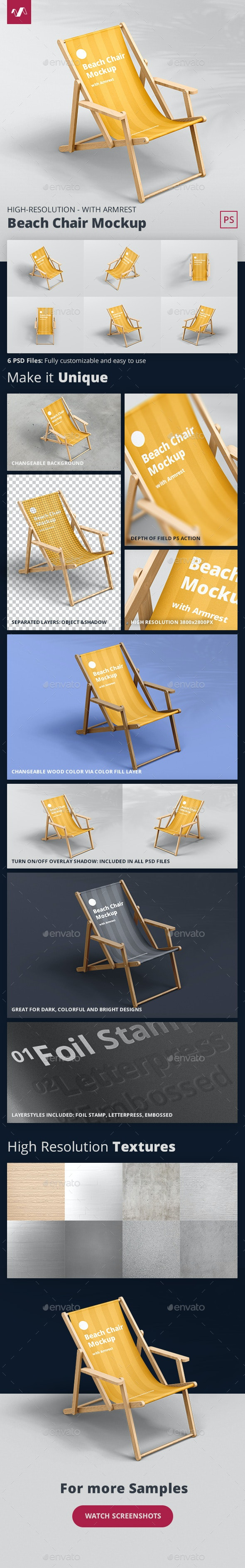 Beach Chair Mockup with Armrest - Miscellaneous Print