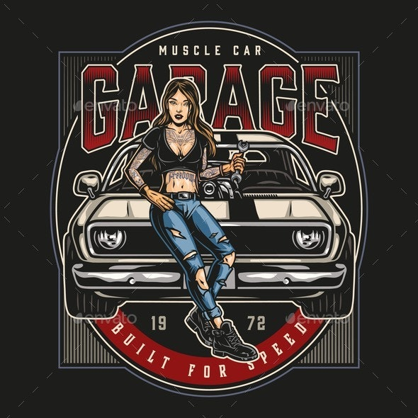 Muscle Car Garage Service Colorful Logo - Man-made Objects Objects