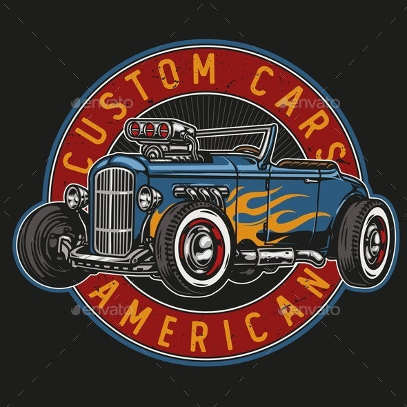American Custom Car Round Emblem - Man-made Objects Objects