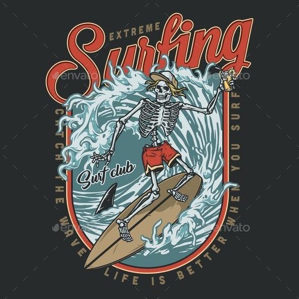 Surfing Club Vintage Colorful Design - Sports/Activity Conceptual