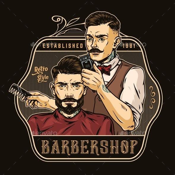 Vintage Colorful Barbershop Emblem - Miscellaneous Vectors