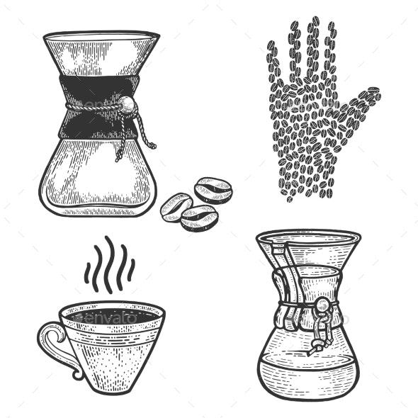 Coffee Set Line Art Sketch Vector - Miscellaneous Vectors