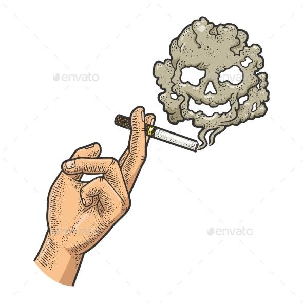 Cigarette in Hand Sketch Vector Illustration - Health/Medicine Conceptual