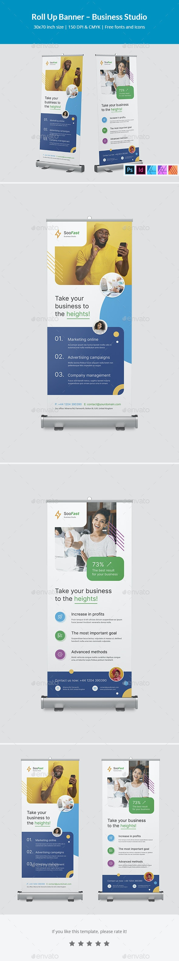 Roll Up Banner – Business Studio - Signage Print Templates