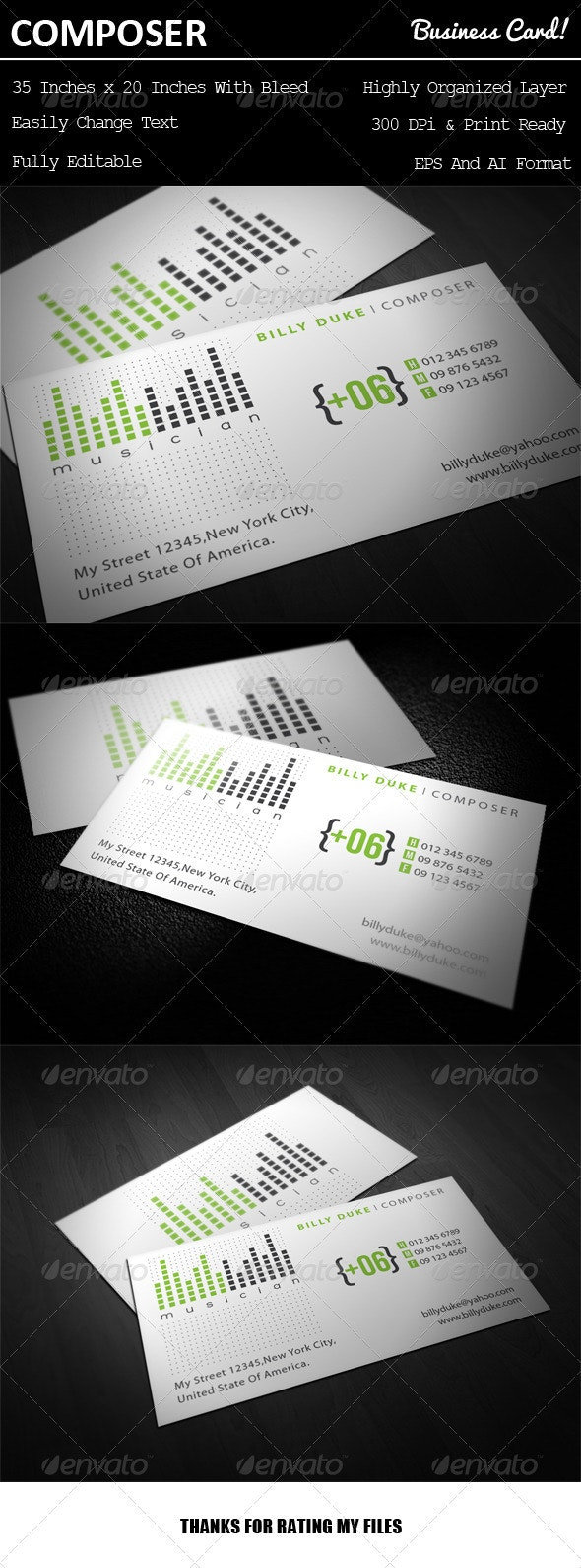 Composer Business Card - Industry Specific Business Cards
