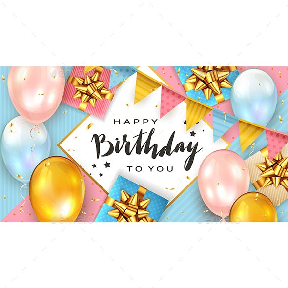 Birthday Background with Balloons and Gift Boxes