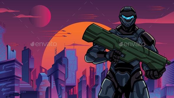 Futuristic Soldier in City Closeup - Technology Conceptual