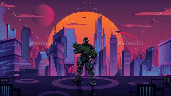 Futuristic Soldier in City - Technology Conceptual