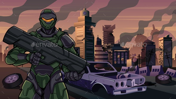 Futuristic Soldier in City in Ruins - Technology Conceptual