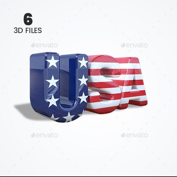 USA 3D Text - 3D Render