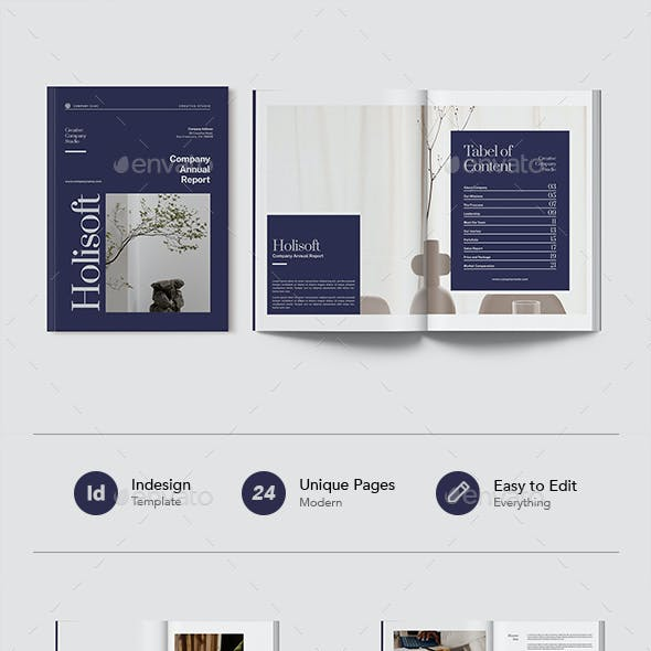 Holisoft - Professional Annual Report Document Indesign Template