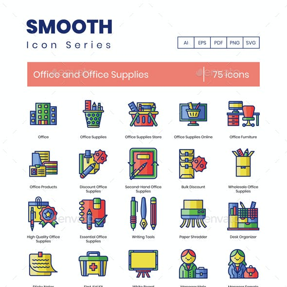 75 Office and Office Supplies Icons | Smooth Series