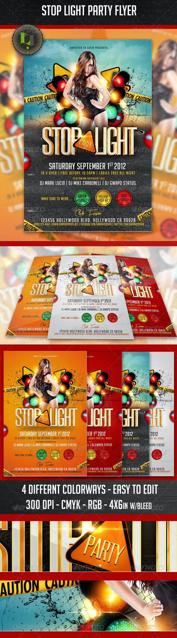 Stop Light Party Flyer - Clubs & Parties Events