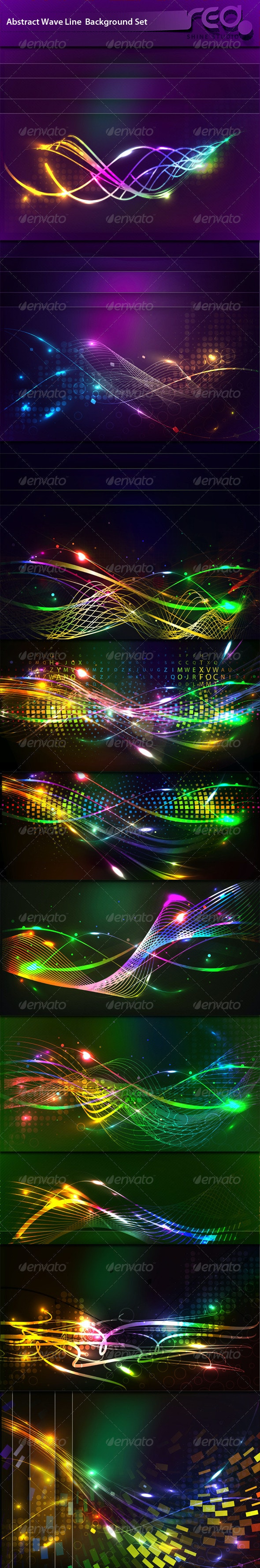 Abstract Glowing Wave Line Background - Backgrounds Decorative