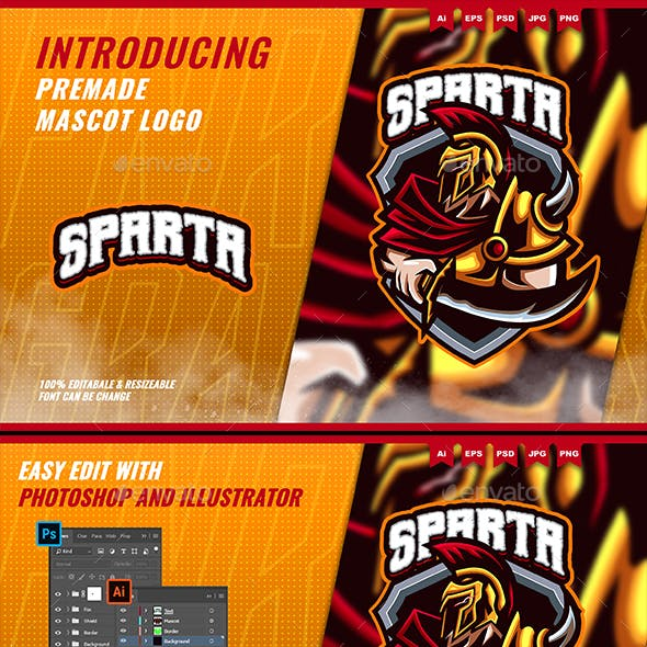 Sparta Gladiator - Mascot Esport Logo Template
