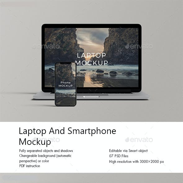 Laptop And Smartphone Mockup
