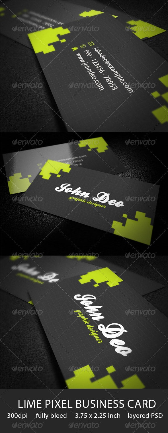Lime Pixels Business Card - Corporate Business Cards