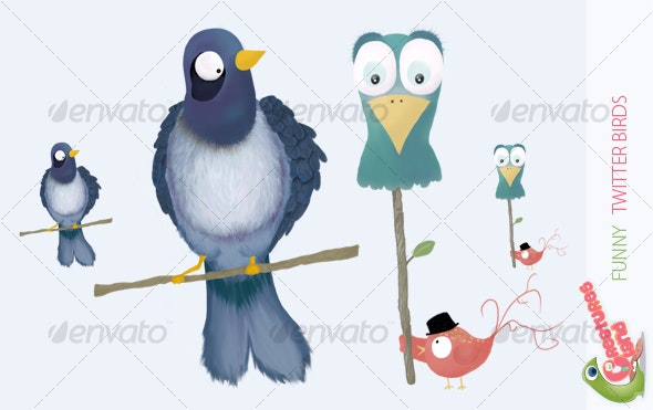 Funny Twitter Birds - Characters Illustrations