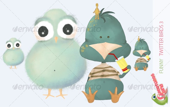 Funny Twitter Birds 3 - Characters Illustrations