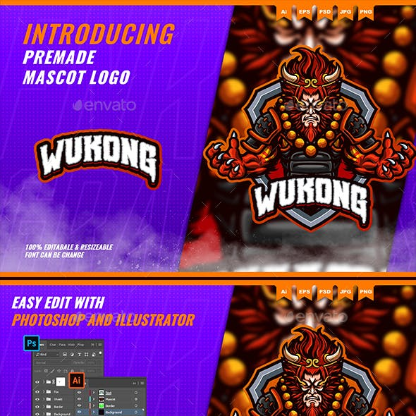 Wukong Monkey King - Mascot Esport Logo Template