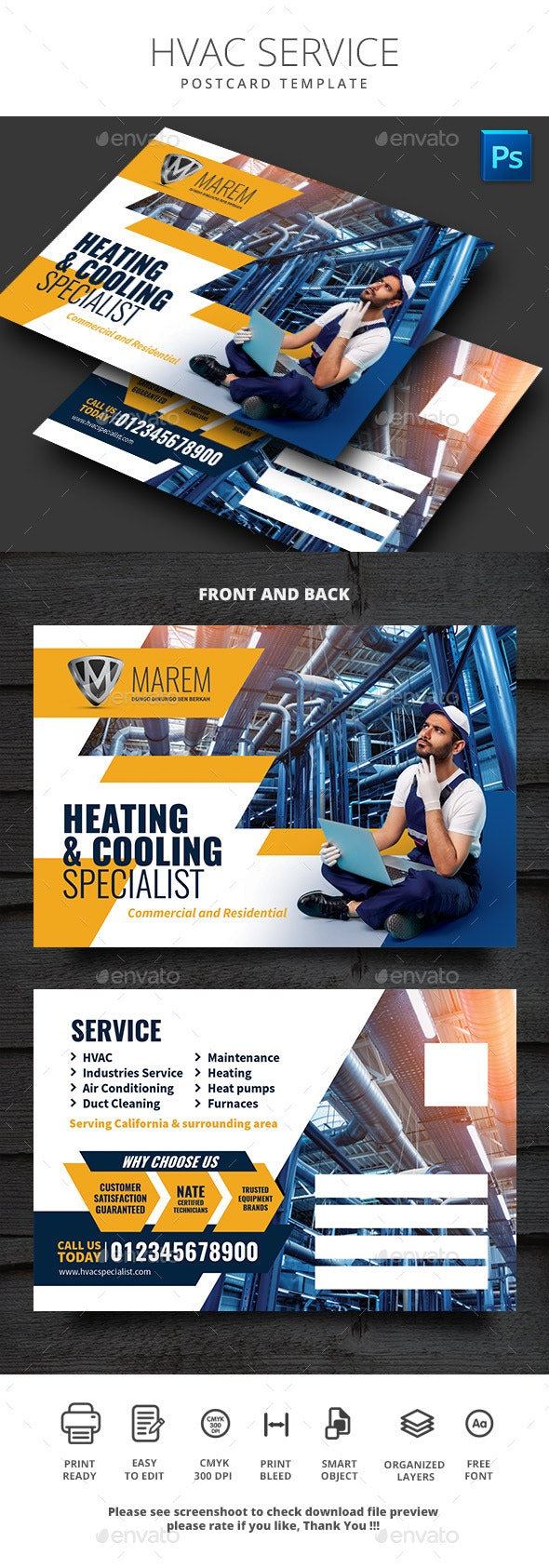 HVAC Service Postcard Template - Cards & Invites Print Templates