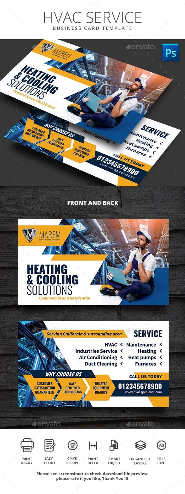 HVAC Service Business Card Template - Business Cards Print Templates